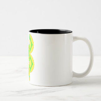 Yellow Mug half-circles triangles green