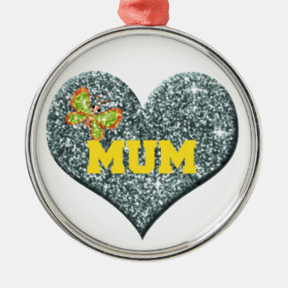 Yellow Mum Love Heart With Butterfly Christmas Ornament