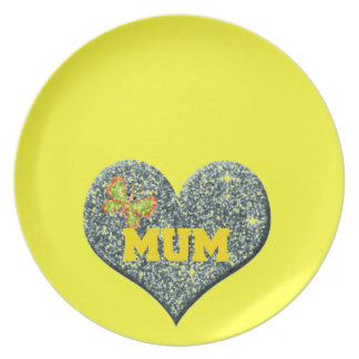 Yellow Mum Love Heart With Butterfly Plate
