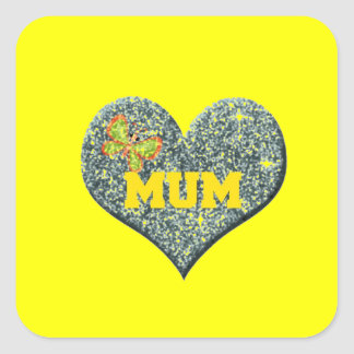Yellow Mum Love Heart With Butterfly Square Sticker
