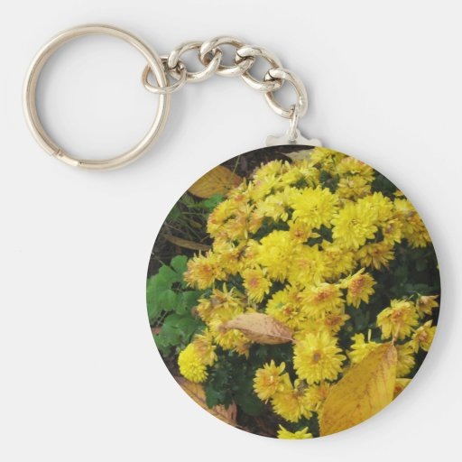 Yellow Mums in Fall - Photograph Key Chains
