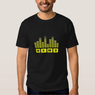 yellow music buttons with equalizer t shirts