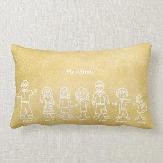 Yellow Mustard Chalkboard Family Doodles Lumbar Cushion