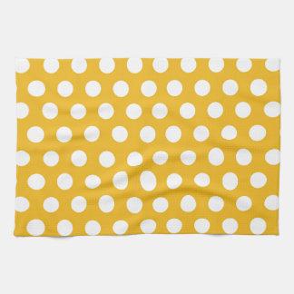 Yellow Mustard Color Polka Dots Pattern Design Tea Towel