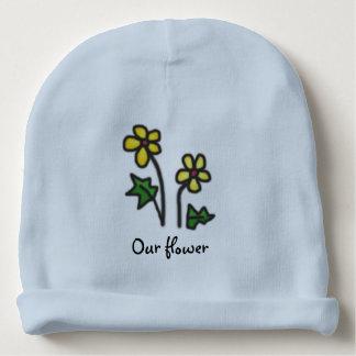 Yellow Naive Flowers with Custom Name Baby Beanie