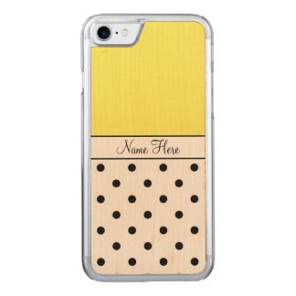 Yellow Name, Black Polka Dots Carved iPhone 7 Case