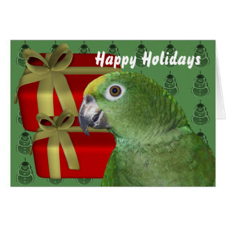 Yellow Naped Amazon Parrot Christmas Holiday Card