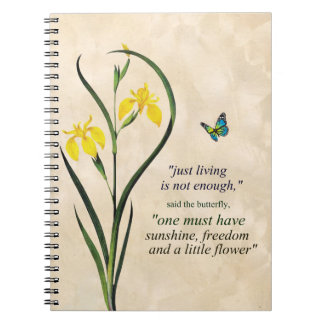 Yellow Narcissus Blue Butterfly Motivational Quote Spiral Notebook