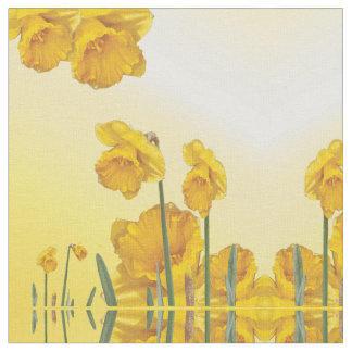 Yellow Narcissus Daffodil  Retro Vintage look Fabric