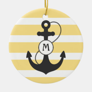 Yellow Nautical Anchor Monogram Christmas Ornament