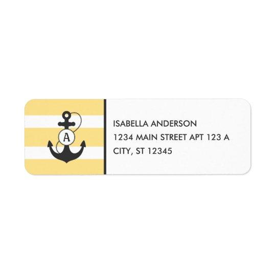 Yellow Nautical Anchor Monogram Return Address Label