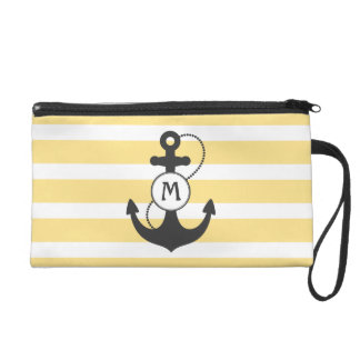 Yellow Nautical Anchor Monogram Wristlet