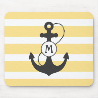 Yellow Nautical Anchor Mouse Mat