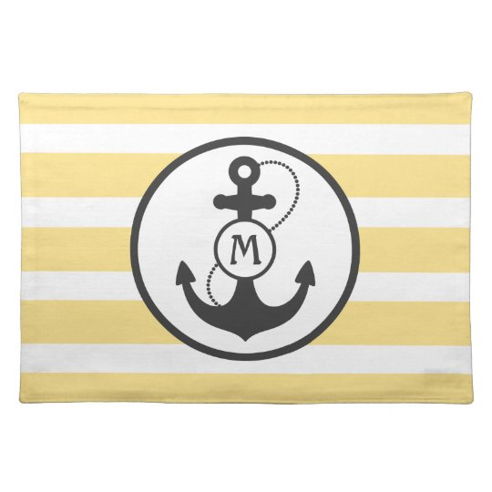 Yellow Nautical Stripes with Anchor and Monogram Placemat