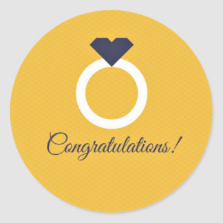 Yellow & Navy Blue Congratulations Engagement Classic Round Sticker