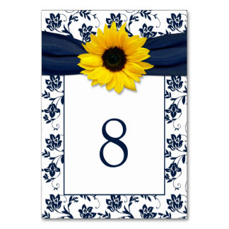 Yellow Navy Blue Damask Sunflower Ribbon Wedding Table Cards