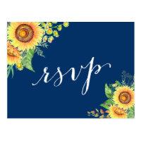 Yellow Navy Blue Sunflowers Rustic Wedding RSVP