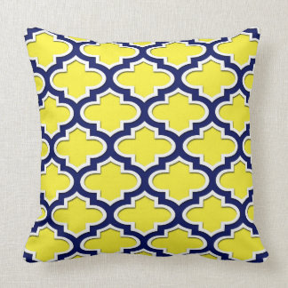 Yellow Navy Blue White Moroccan Quatrefoil #3DS Cushion