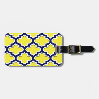 Yellow, Navy Blue, Wht Lg Moroccan Quatrefoil #3DS Luggage Tag