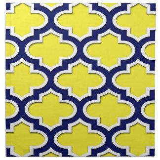 Yellow, Navy Blue, Wht Lg Moroccan Quatrefoil #3DS Napkin