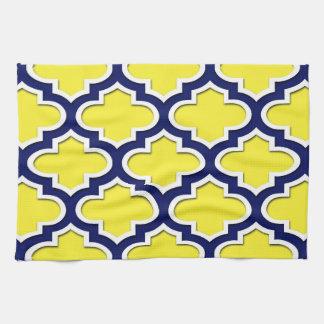 Yellow, Navy Blue, Wht Lg Moroccan Quatrefoil #3DS Tea Towel