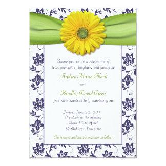 Yellow, Navy, Green Damask Wedding Invitation
