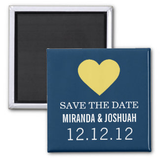 Yellow & Navy Heart Design Save The Date Magnets