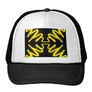 Yellow Neon 8 on a Black Field _ Urban ART Trucker Hats