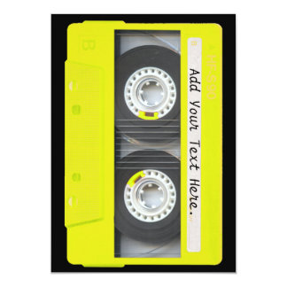 Yellow Neon Customizable Cassette Tape Card