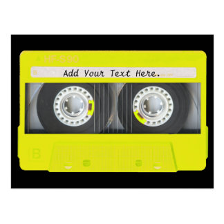 Yellow Neon Customizable Cassette Tape Postcard