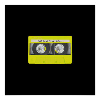 Yellow Neon Customizable Cassette Tape Poster