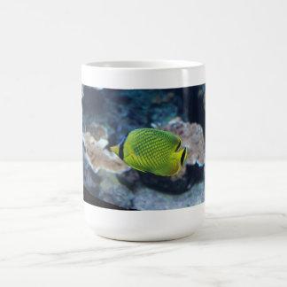 Yellow Neon Fish Basic White Mug