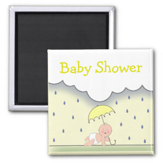 Yellow Neutral Baby Shower Magnet- Rain & Umbrella Magnet