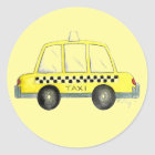 Yellow New York City NYC Taxi Chequered Cab Cabbie Classic Round Sticker