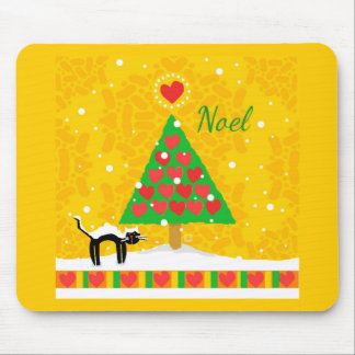 Yellow Noel Christmas Tree, Black Cat, Snow Mouse Pads