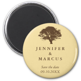 Yellow oak tree wedding announcement save the date 6 cm round magnet