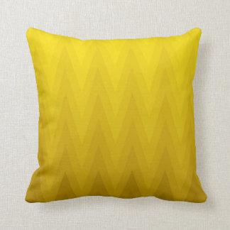 Yellow Ochre Gradient Ombre Chevron Pattern Cushion