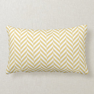 Yellow Ochre Herringbone Pattern Custom Monogram Lumbar Cushion
