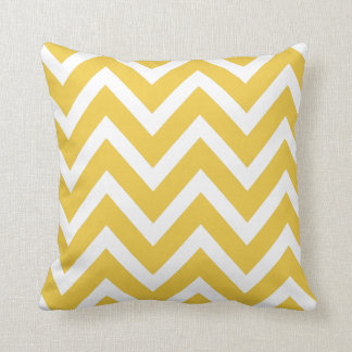 Yellow Ochre White Chevron Zigzag Stripes Pillow