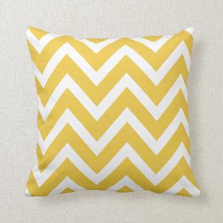 Yellow Ochre White Chevron Zigzag Stripes Pillow Cushions