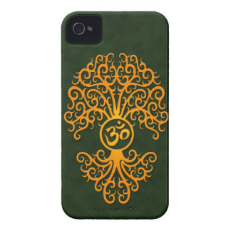 Yellow Om Tree on Green iPhone 4 Cover