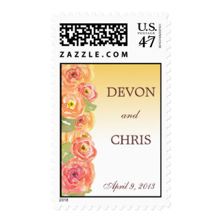 Yellow Ombre Cascading Flowers Wedding Postage