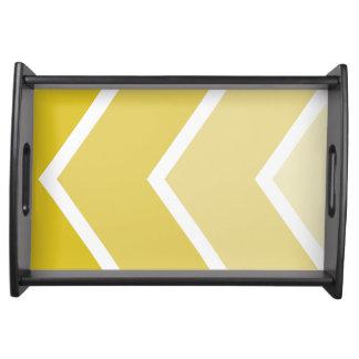 Yellow Ombré Chevron Stripes Serving Tray