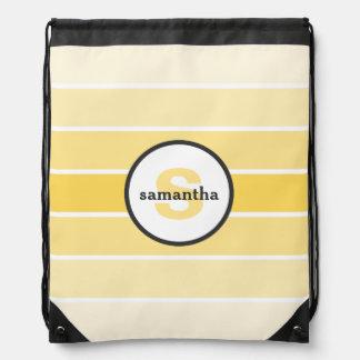 Yellow Ombre Monogram Drawstring Bag