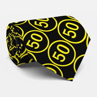 yellow on black number fifty in a circle tie