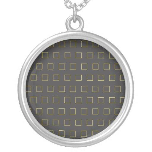 Yellow on black squares pendant