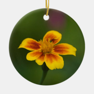 yellow on blue and yellow on green Double-Sided ceramic round christmas ornament