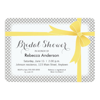 Yellow on Gray with White Dots Bridal Shower 13 Cm X 18 Cm Invitation Card