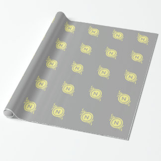 Yellow on Grey Floral Monogram Wrapping Paper