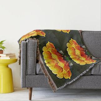Yellow On Orange Cactus Flower Throw Blanket